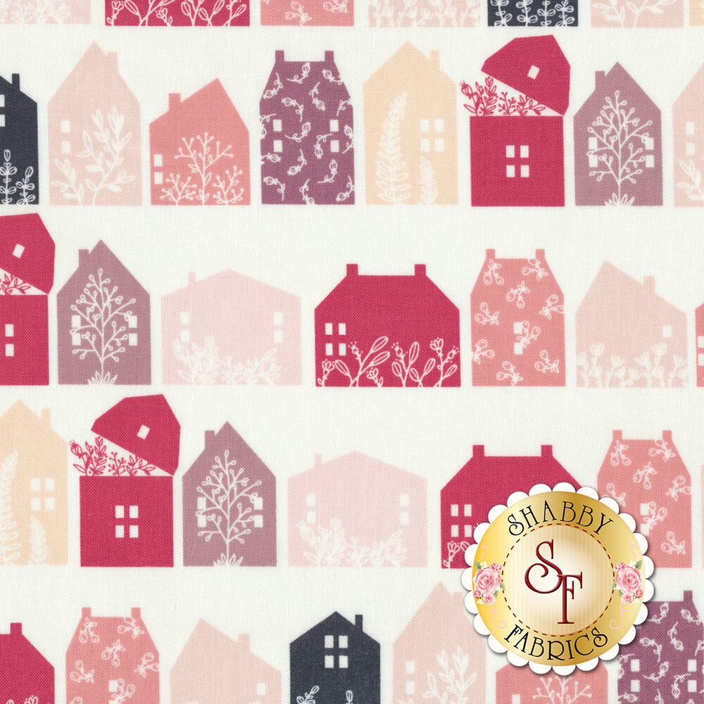 Rows of different colored houses with floral patterns on a white background | Shabby Fabrics