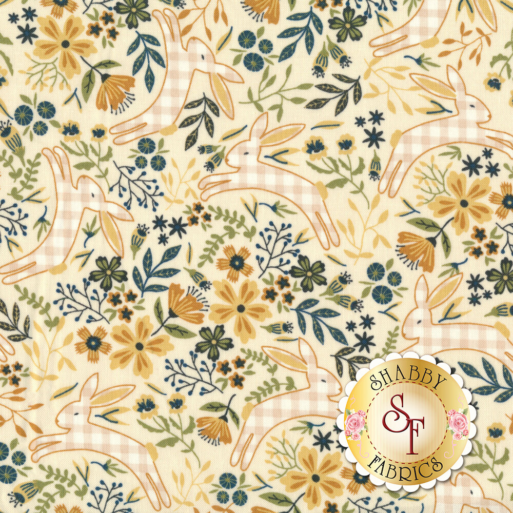 Gingham bunnies hopping around tossed florals on a yellow background | Shabby Fabrics