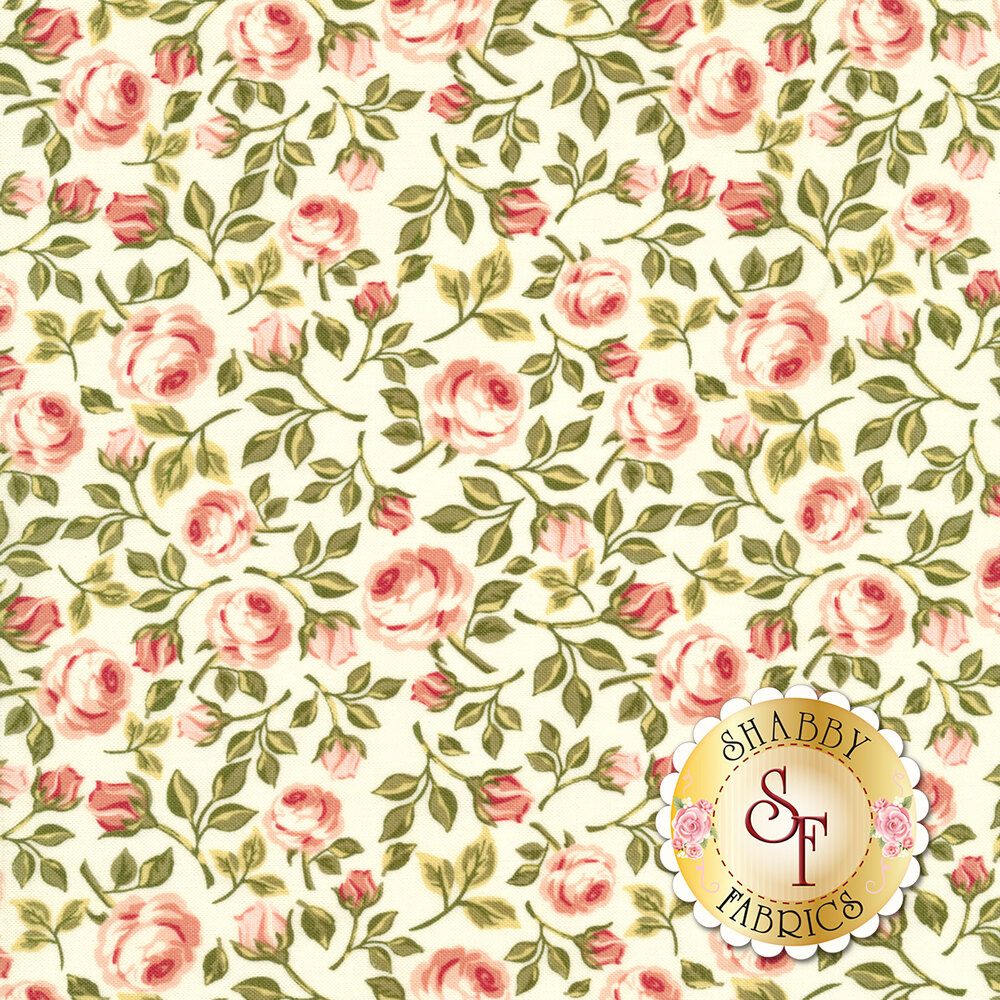 Pink tossed roses with green leaves on a white background | Shabby Fabrics