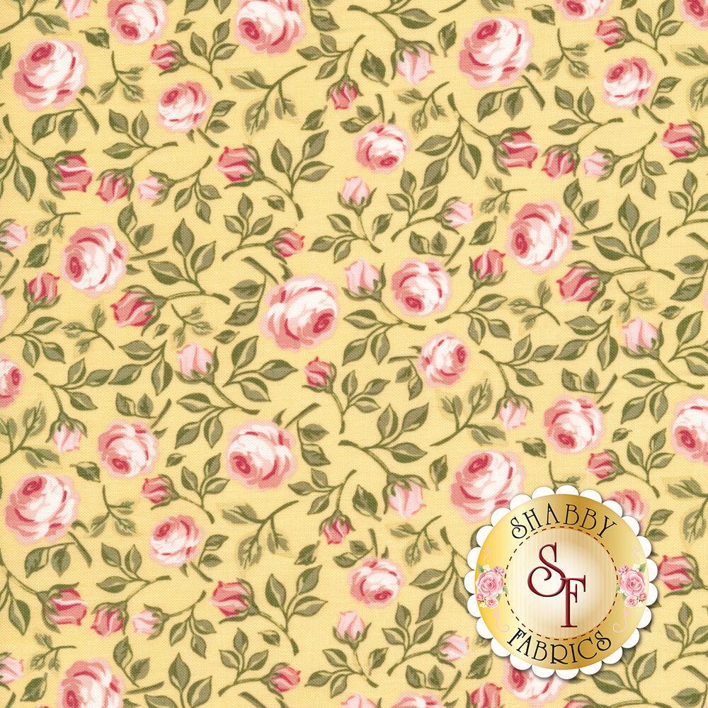 Pink tossed roses with green leaves on a yellow background | Shabby Fabrics