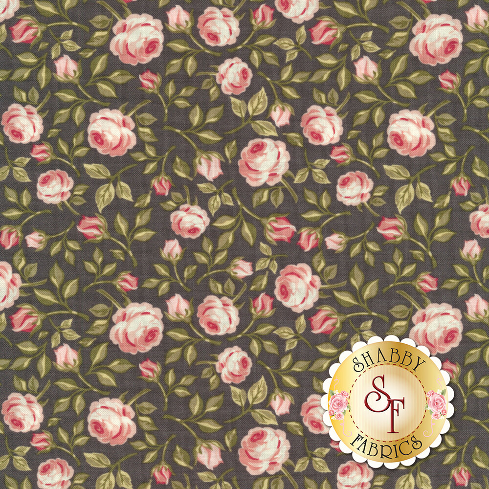 Pink tossed roses with green leaves on a black background | Shabby Fabrics
