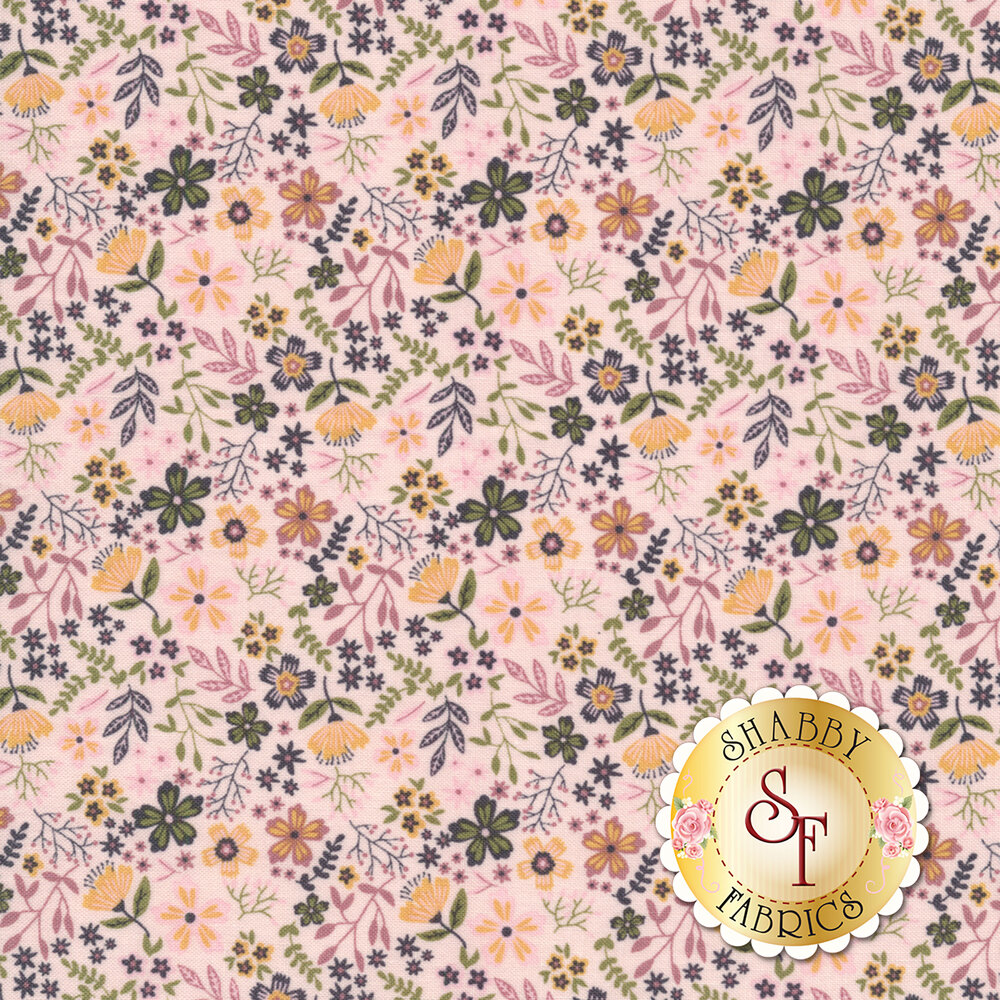 Small flowers and leaves all over on a pink background | Shabby Fabrics