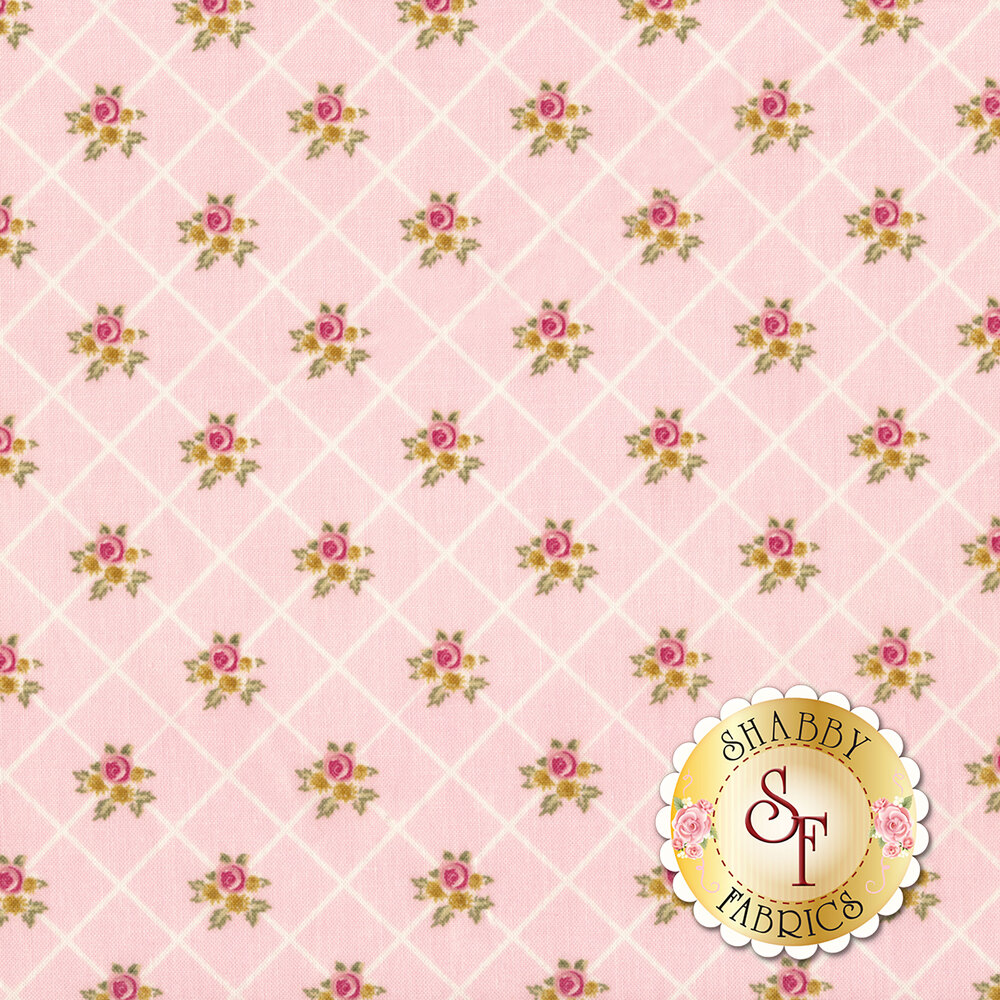 White stripes forming diamond patterns with small flower bunches on pink background | Shabby Fabrics