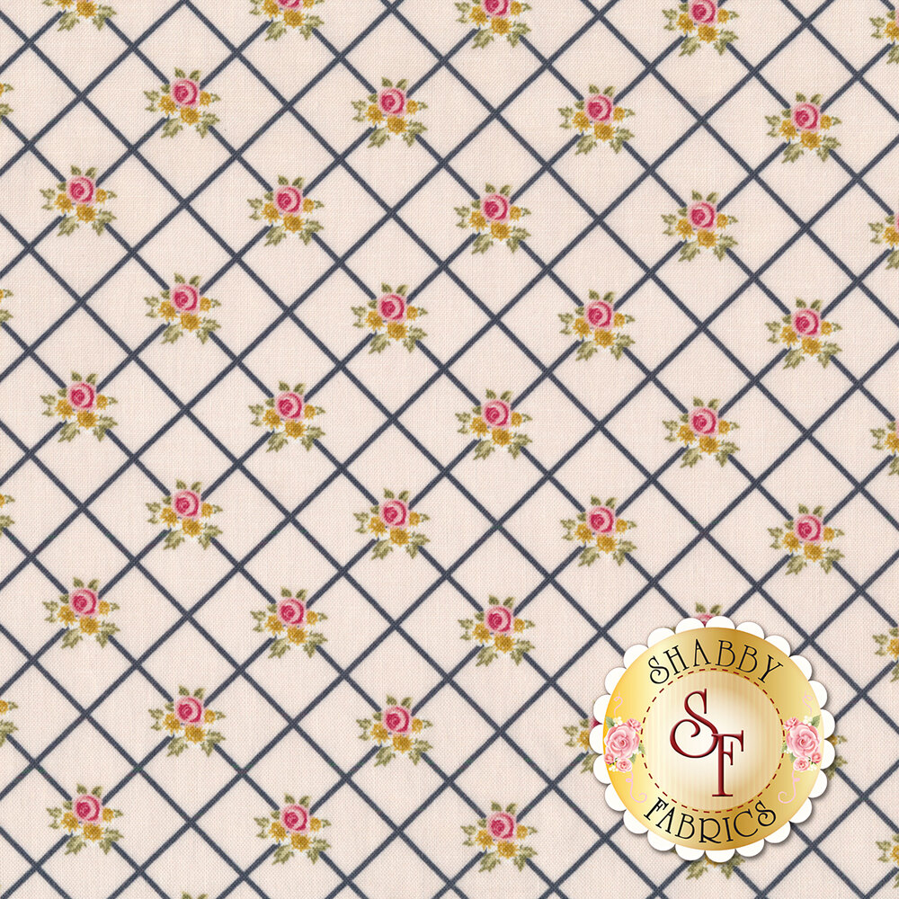 White stripes in diamond pattern with small flower bunches on yellow background | Shabby Fabrics