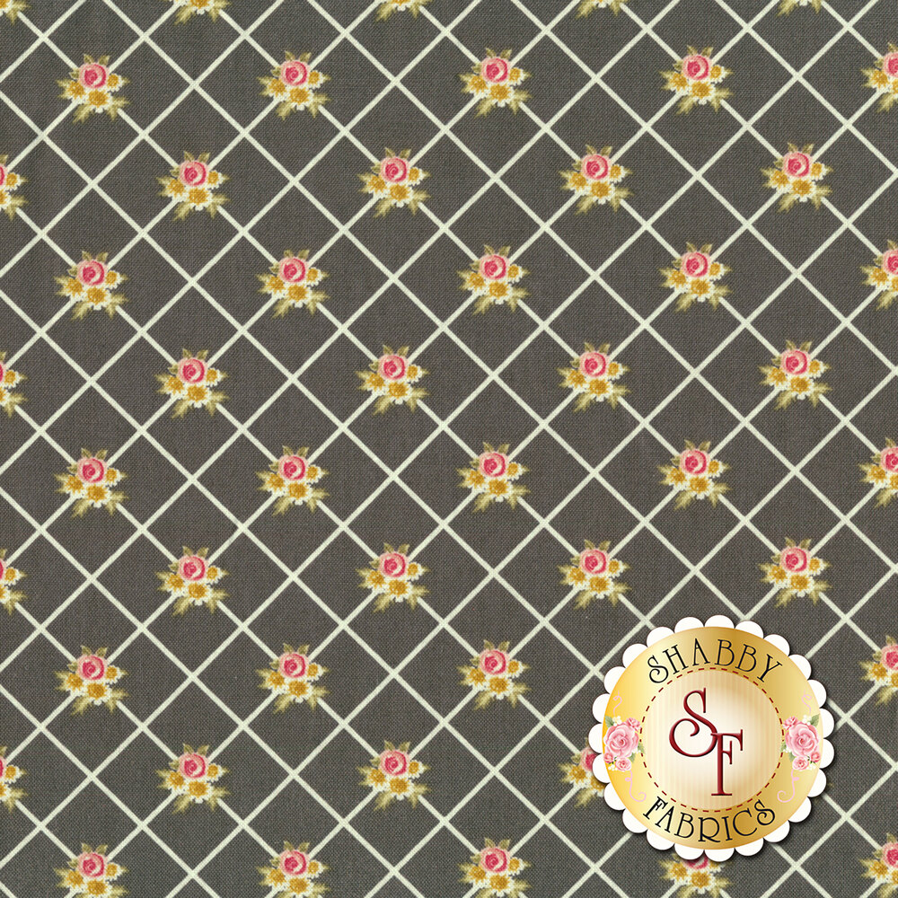 White stripes in diamond pattern with small flower bunches on black background | Shabby Fabrics