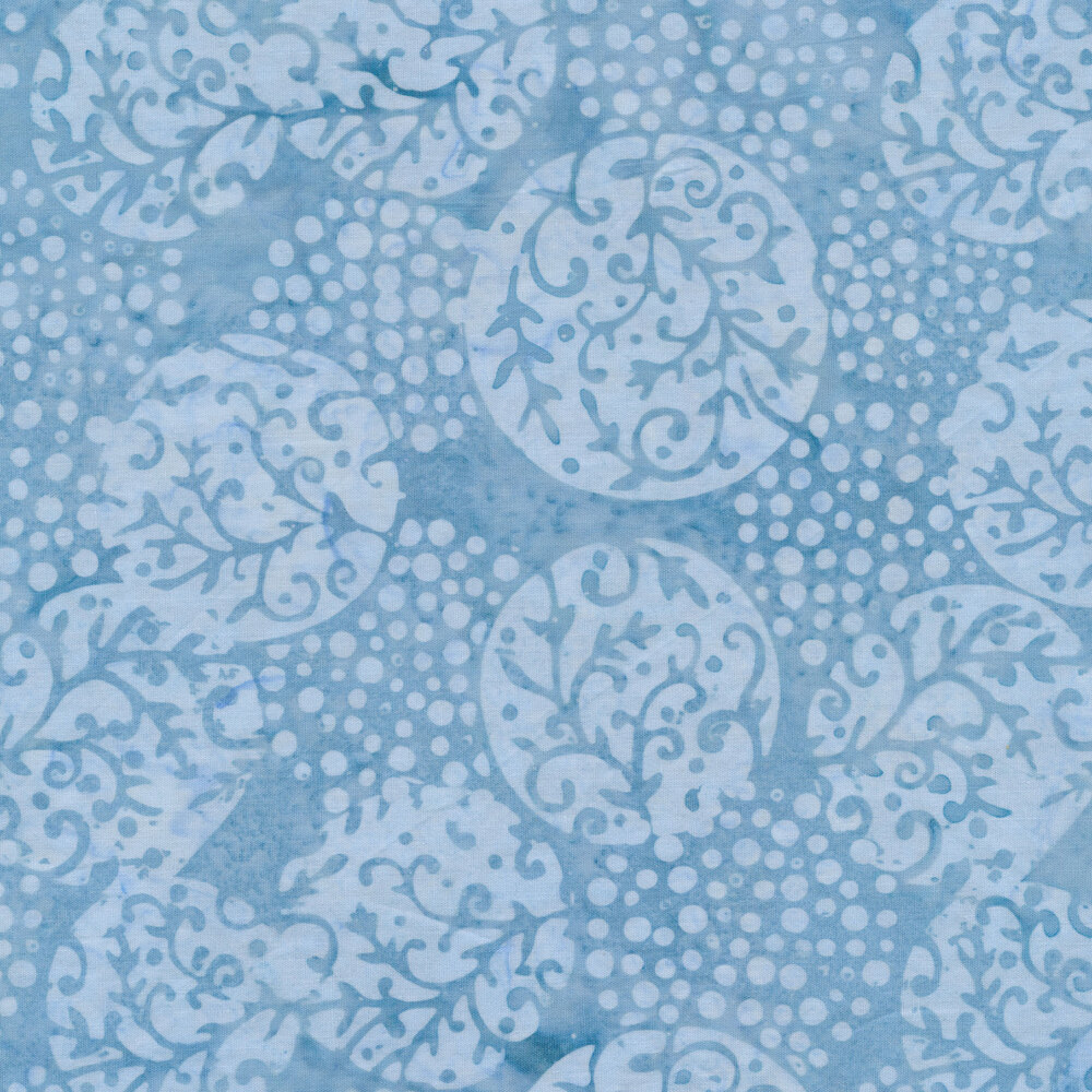 Tonal ornaments all over a marbled blue background   Shabby Fabrics