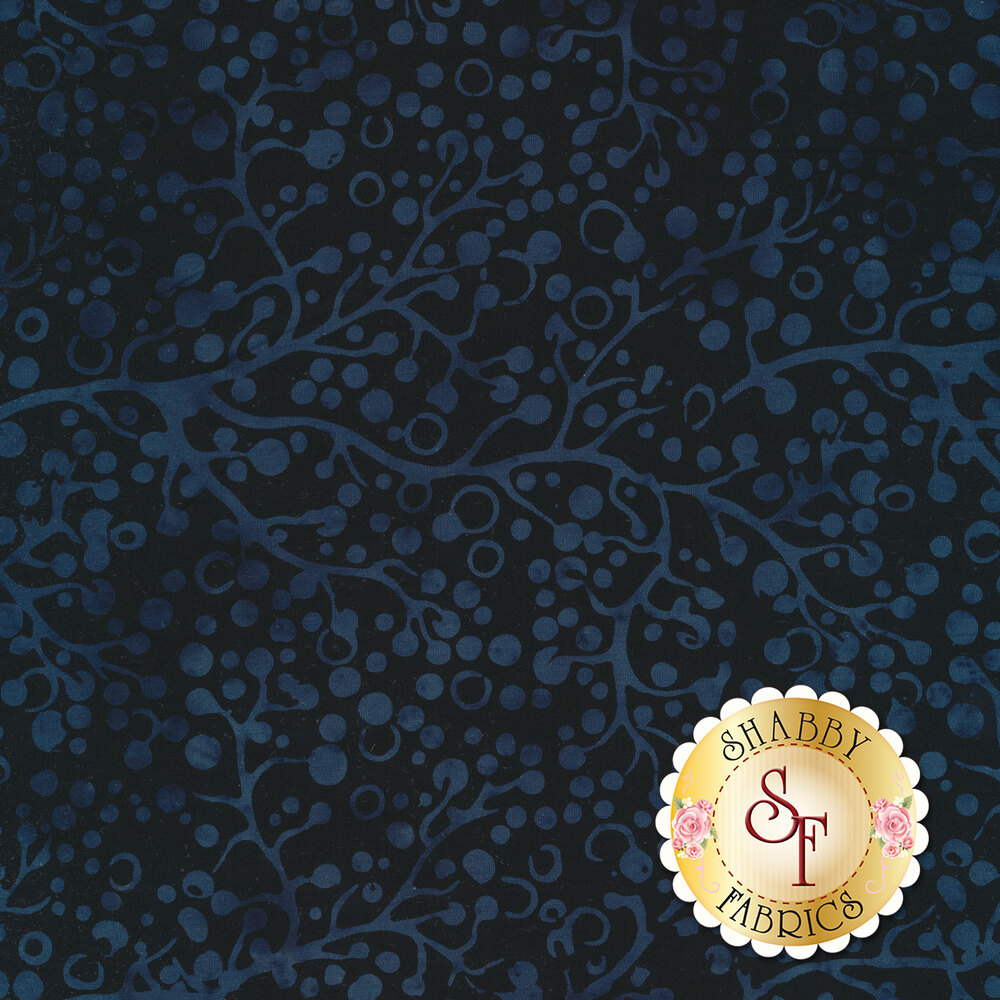 Dark blue mottled trees and branches on a black background   Shabby Fabrics