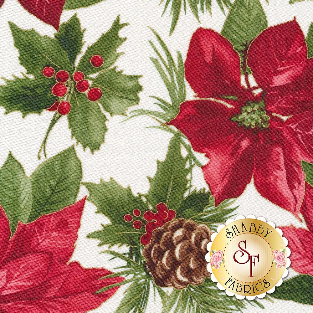 Large red poinsettia on white | Shabby Fabrics