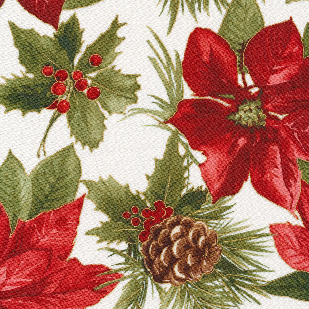 Large red poinsettia on white | Shabby Fabrics