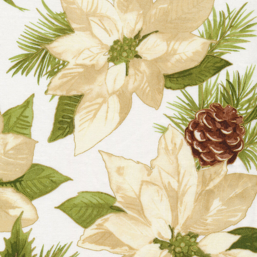 Large cream poinsettia on white | Shabby Fabrics