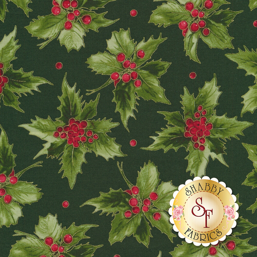 Green holly leaves and red berries on green | Shabby Fabrics