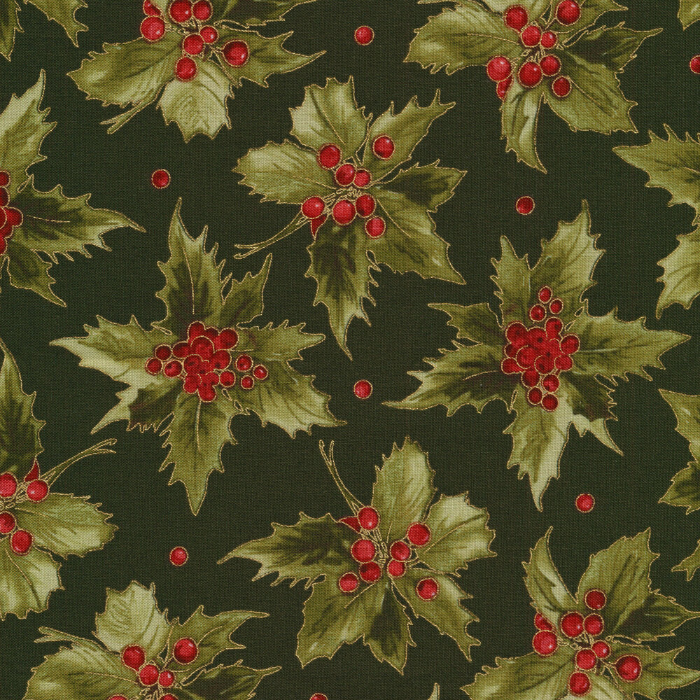 Green holly leaves and red berries on green   Shabby Fabrics