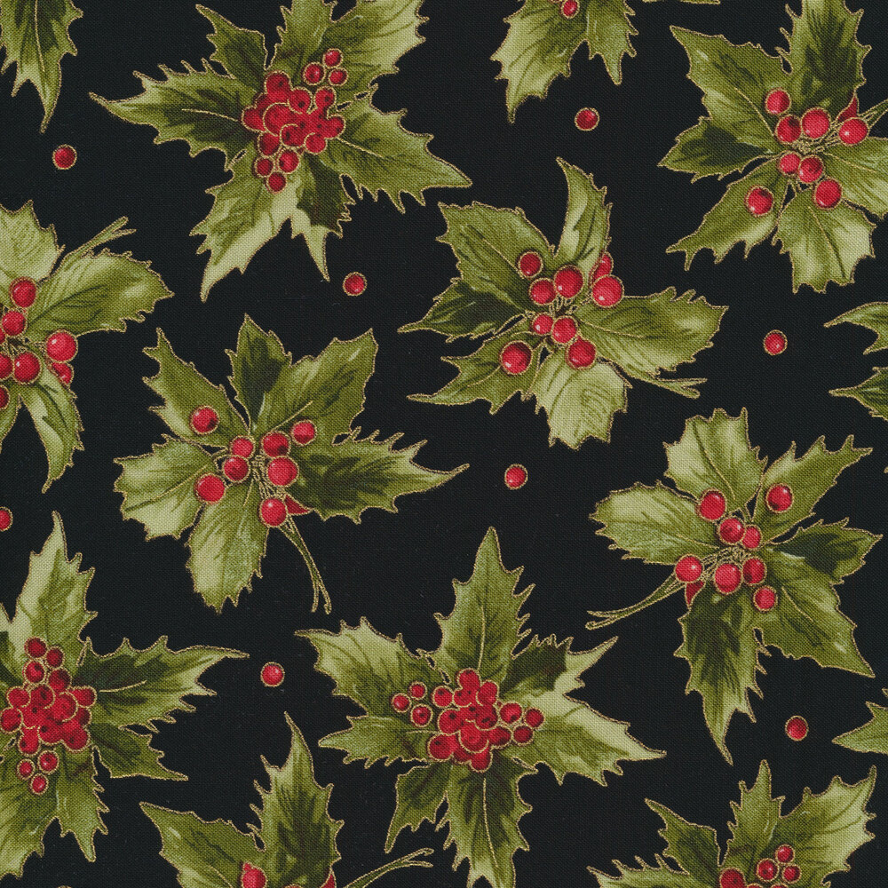 Green holly leaves and red berries on black | Shabby Fabrics
