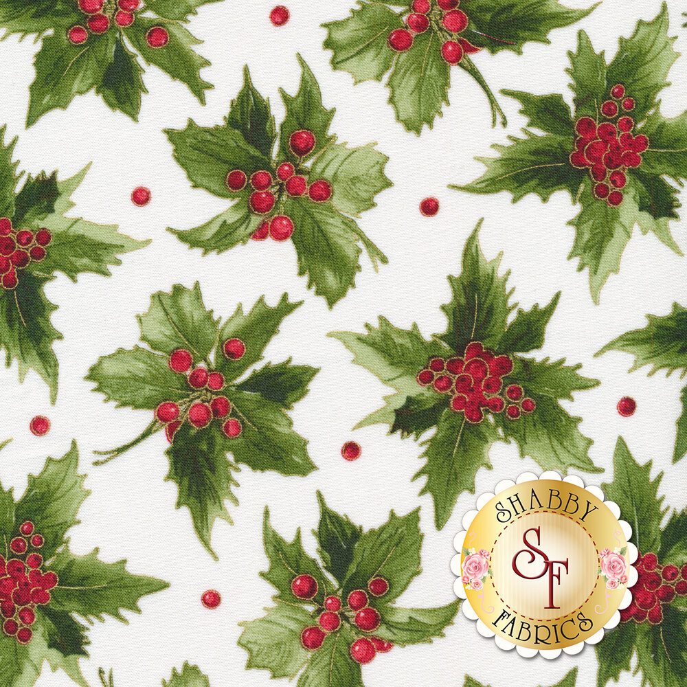 Green holly leaves and red berries on white | Shabby Fabrics