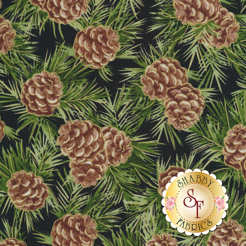Pinecones and green fir branches on black | Shabby Fabrics