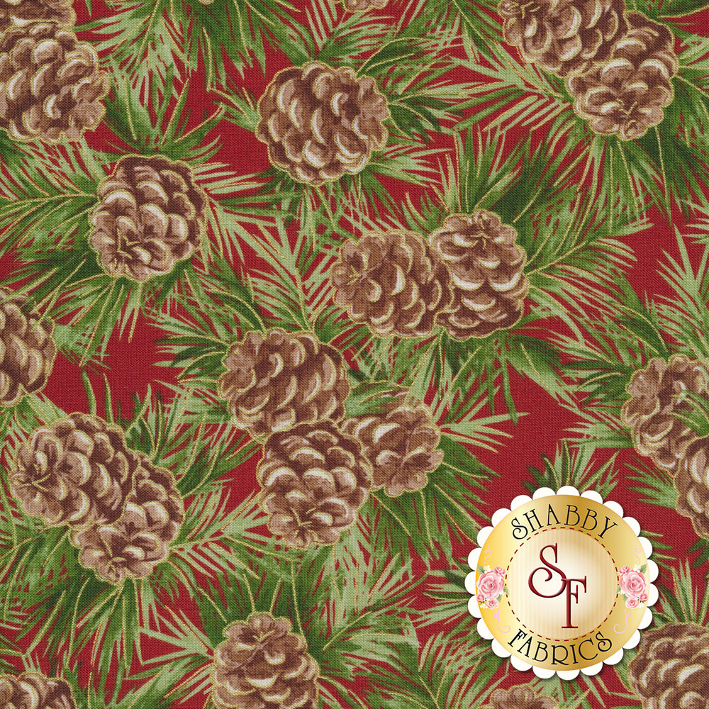 Pinecones and fir branches on red | Shabby Fabrics