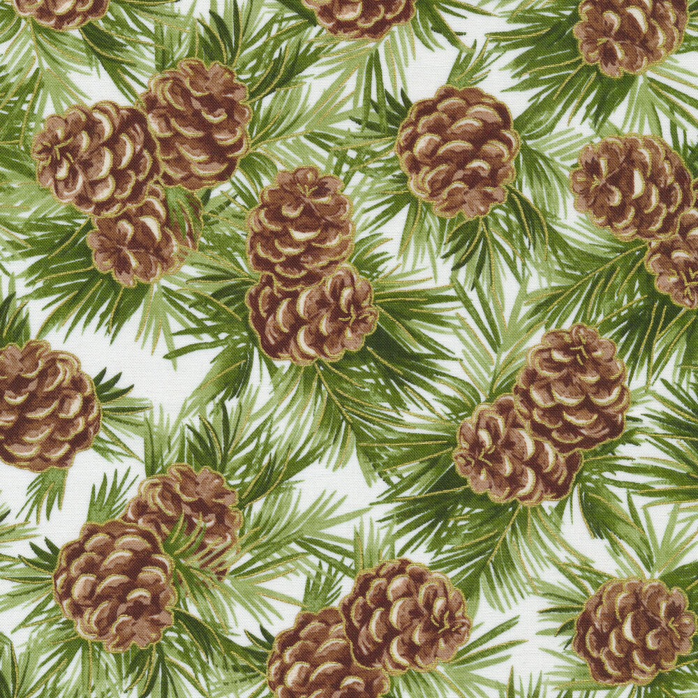 Pinecones and green fir branches on white | Shabby Fabrics