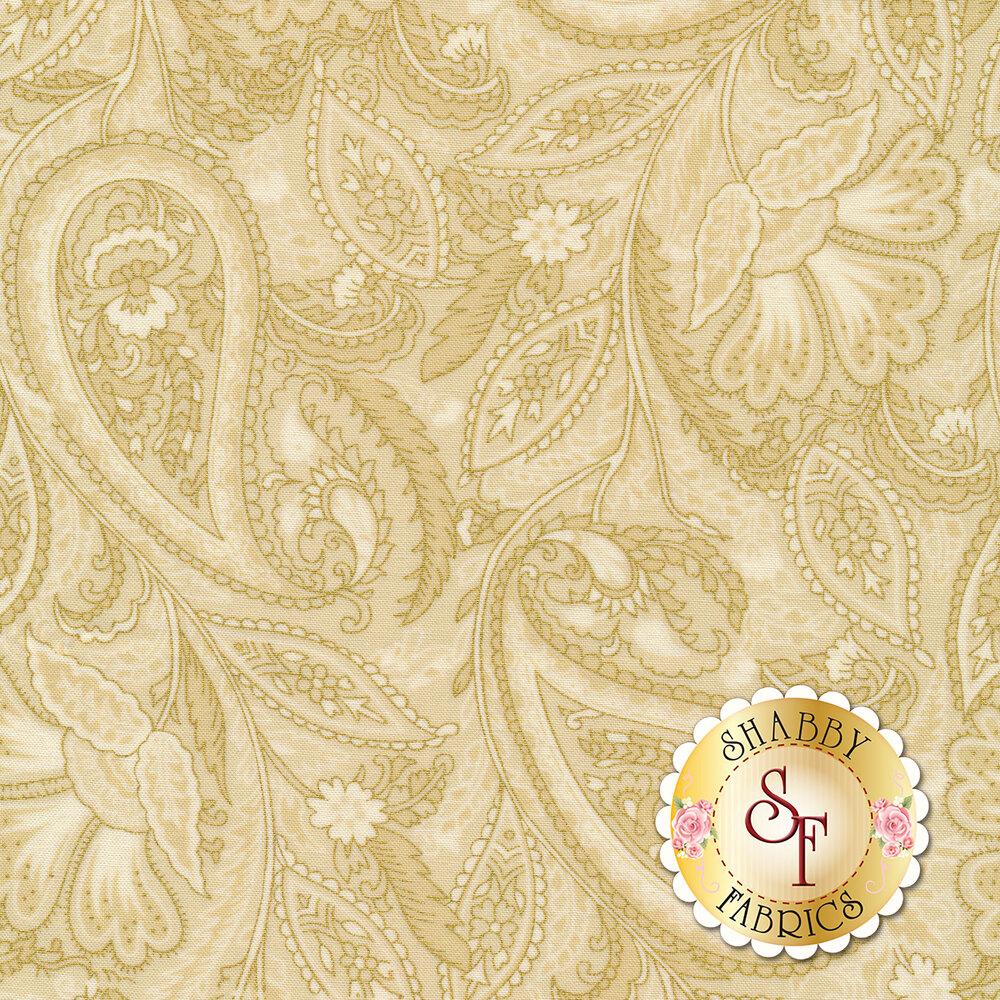 Gold paisley outlines on cream background   Shabby Fabrics