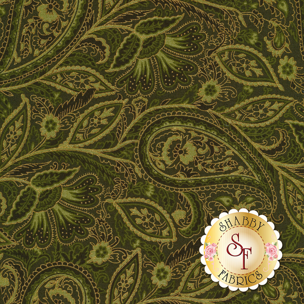 Gold paisley outlines on green background | Shabby Fabrics