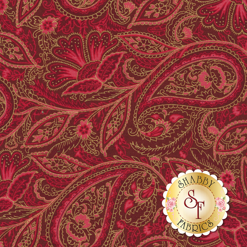 Gold paisley outlines on red background | Shabby Fabrics
