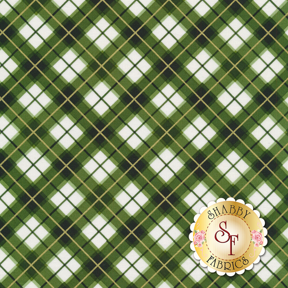Green and white diagonal plaid with gold accent stripes | Shabby Fabrics