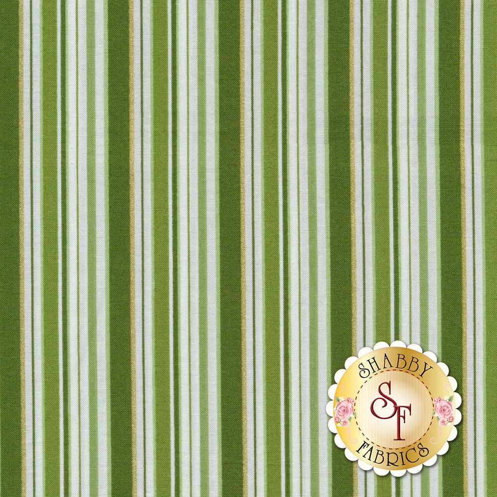 Green and white stripes with gold accents | Shabby Fabrics