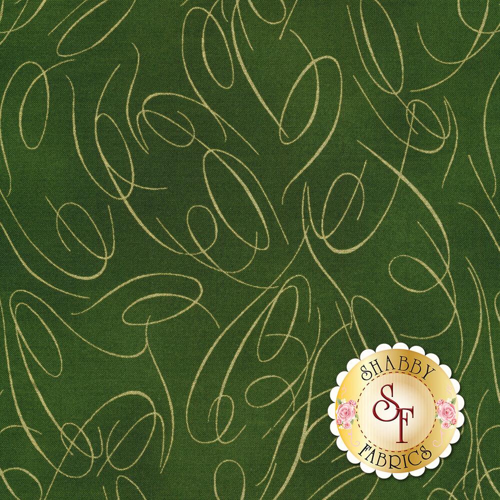Gold ribbon swirls on green | Shabby Fabrics