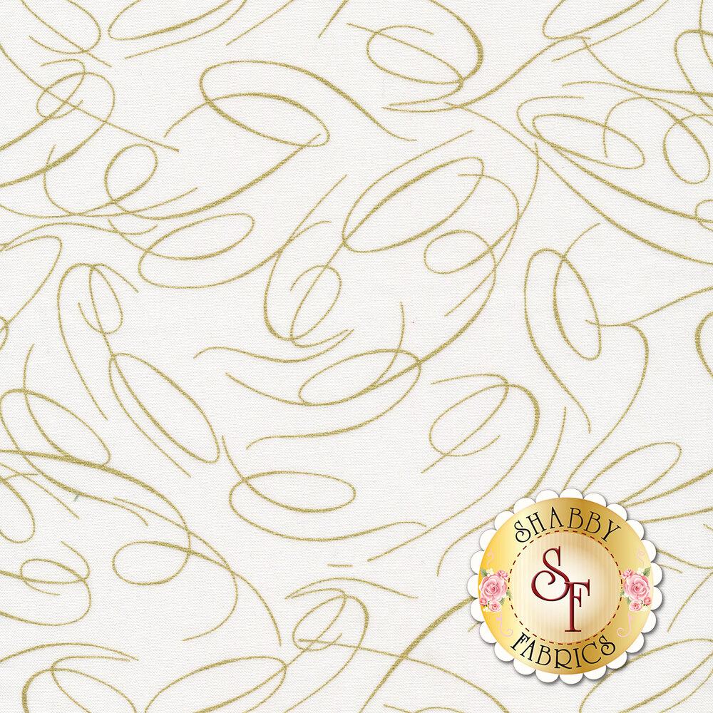 Gold ribbon swirls on white | Shabby Fabrics