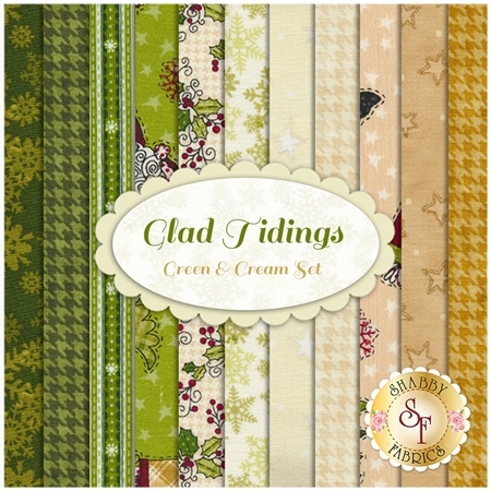 Glad Tidings 11 FQ Set - Green & Cream Set by Leanne Anderson for Henry Glass Fabrics
