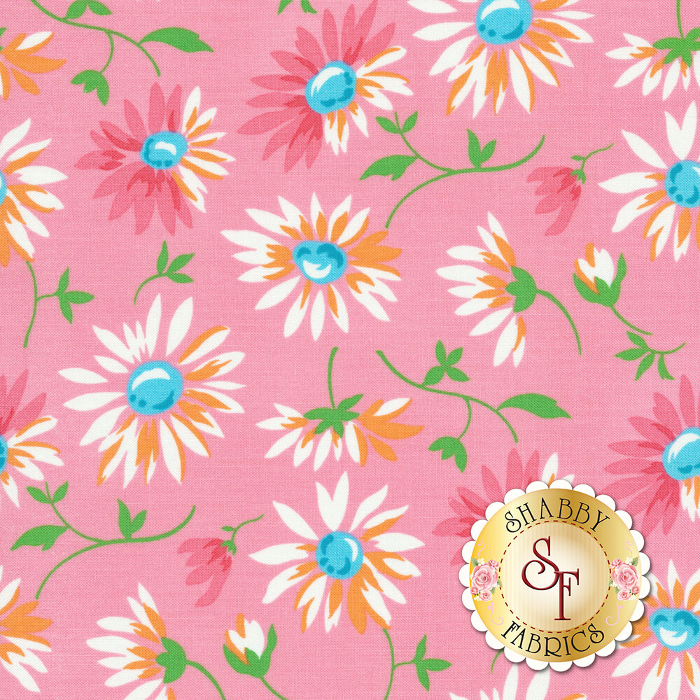 White and orange flowers with blue centers on pink | Shabby Fabrics