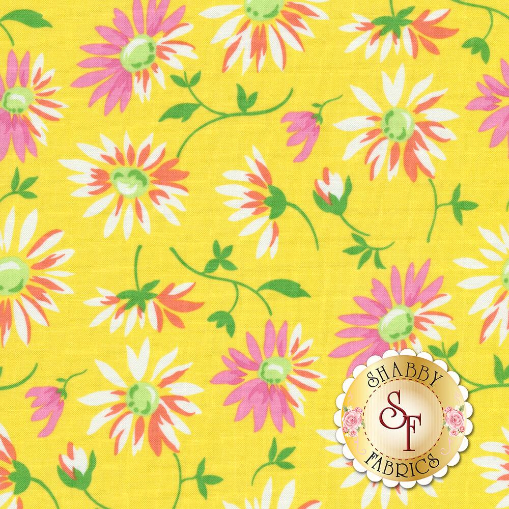 Pink/white/orange flowers all over yellow | Shabby Fabrics