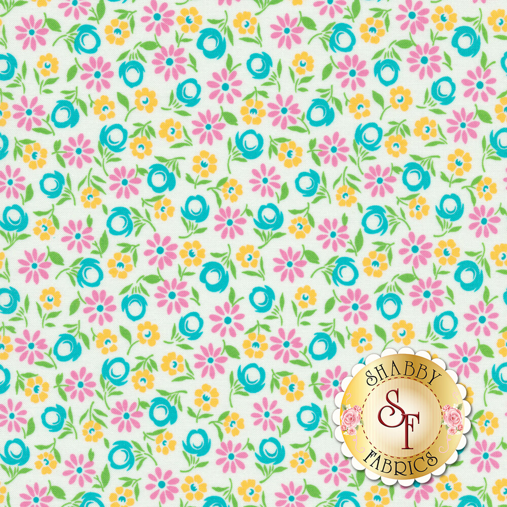 Pink/yellow/blue flowers all over white | Shabby Fabrics