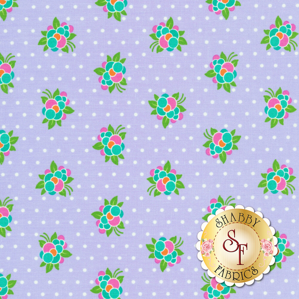 Pink/blue/orange berries on purple with white polka dots | Shabby Fabrics