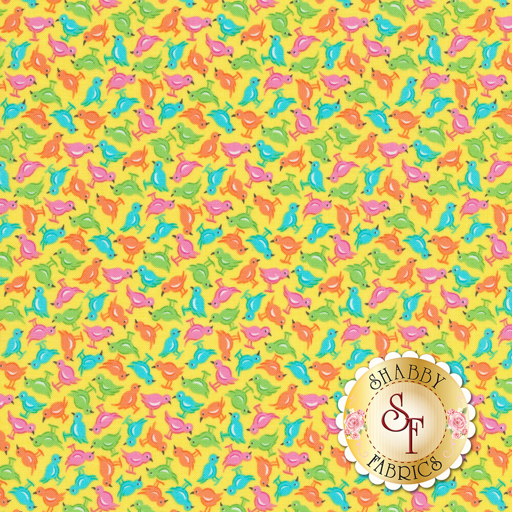 Blue/green/orange/pink chicks all over yellow | Shabby Fabrics