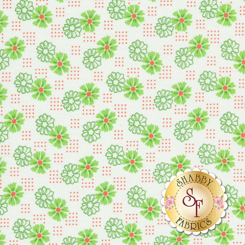 Green flowers with orange dots on white | Shabby Fabrics