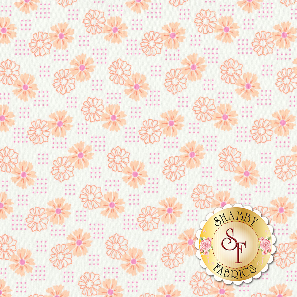 Orange flowers with orange dots on white | Shabby Fabrics