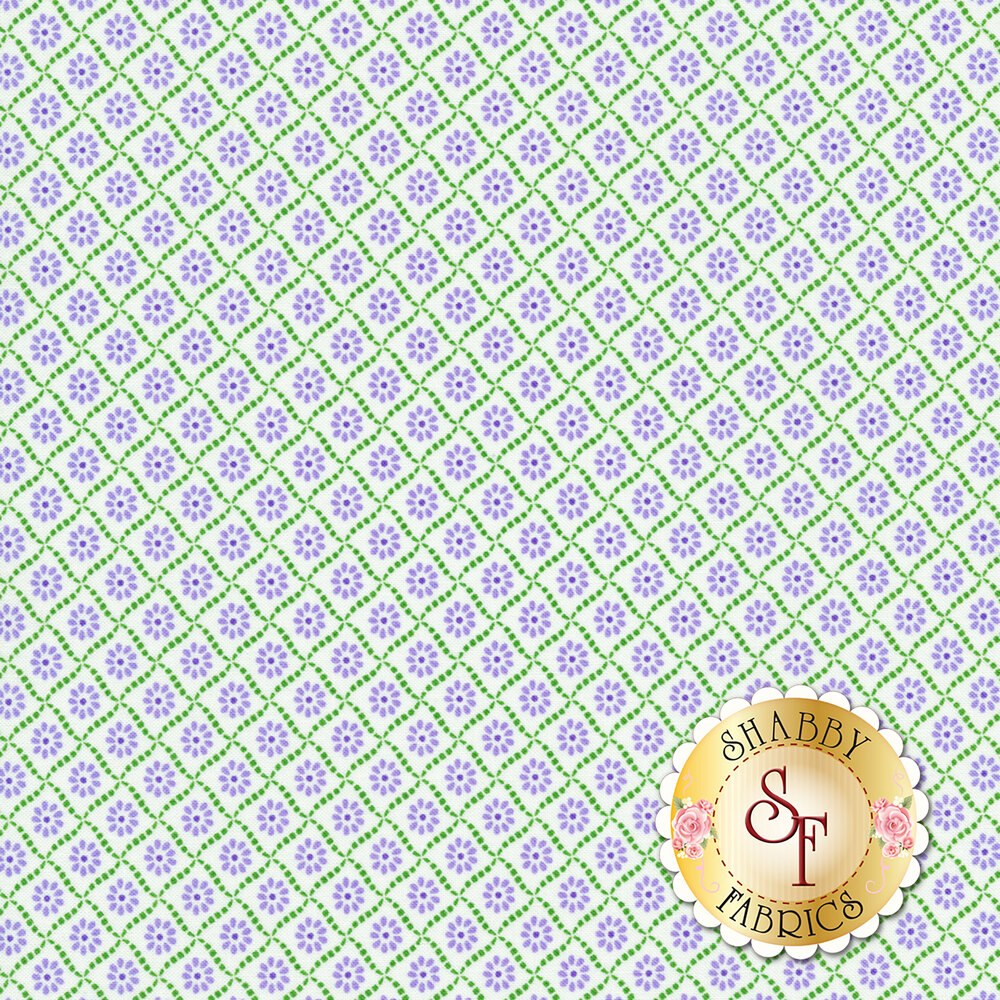 Purple flowers in green tile design on white | Shabby Fabrics