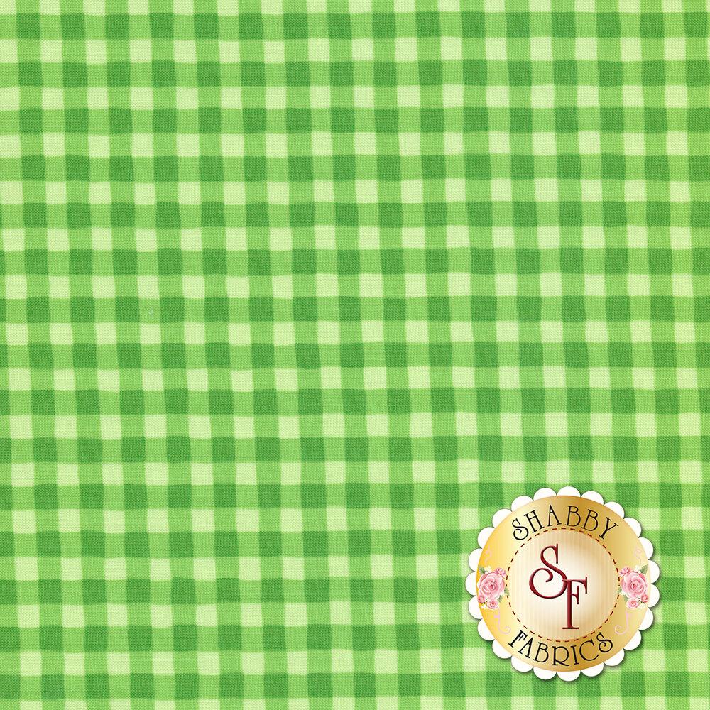 Tonal green wavy gingham   Shabby Fabrics