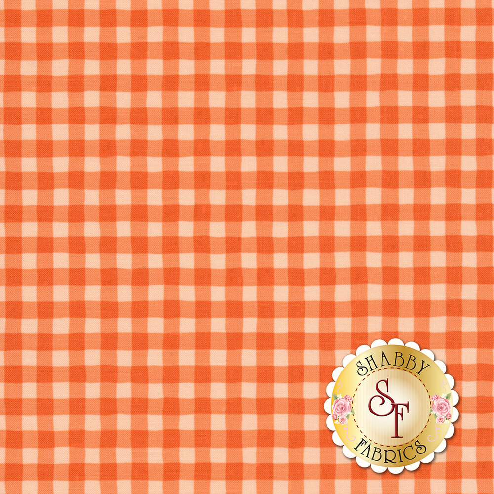 Tonal orange wavy gingham   Shabby Fabrics