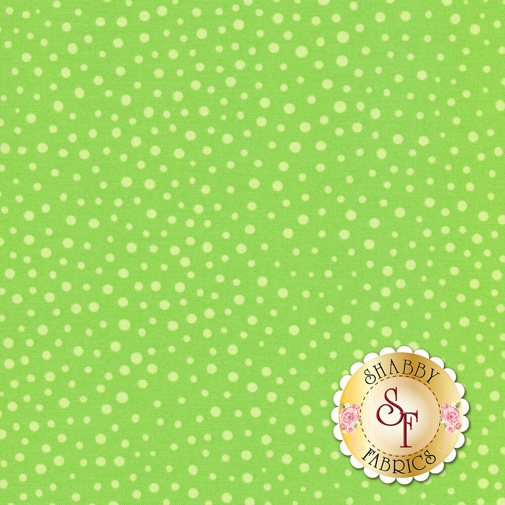 Tonal dots all over green | Shabby Fabrics