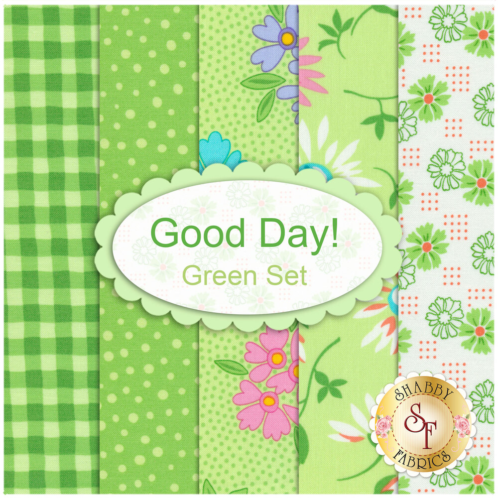 Collage of fabrics included in Good Day Green FQ Set | Shabby Fabrics