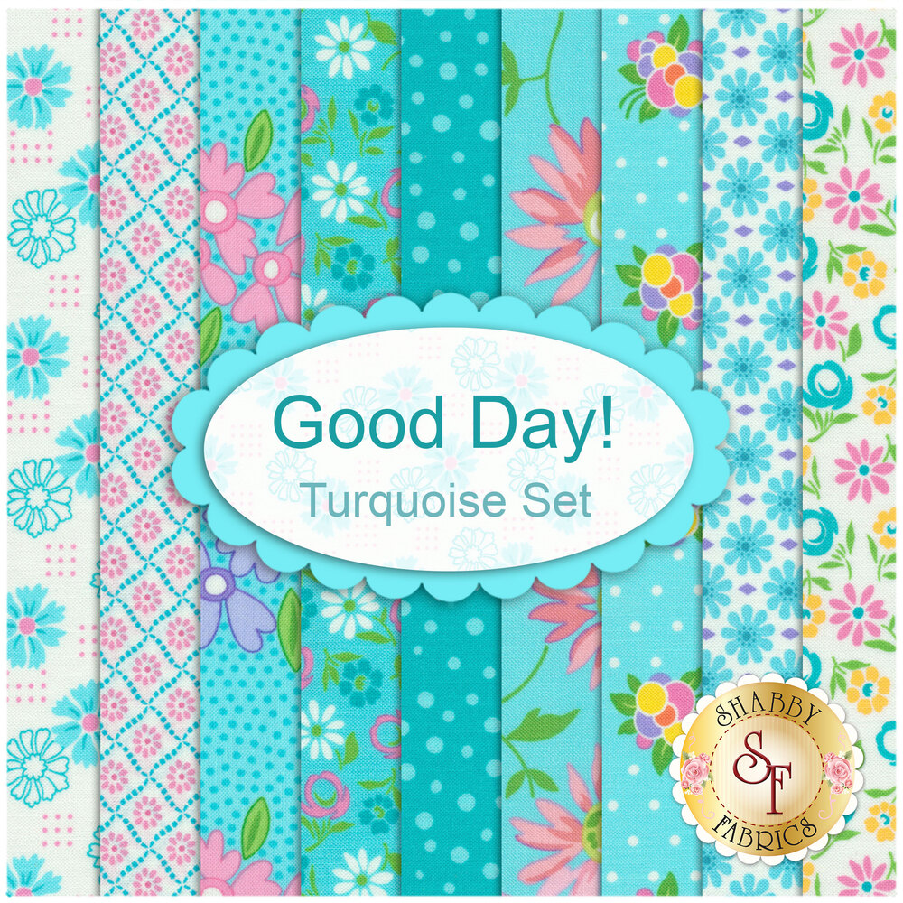 Collage of fabrics included in Good Day Turquoise FQ Set | Shabby Fabrics
