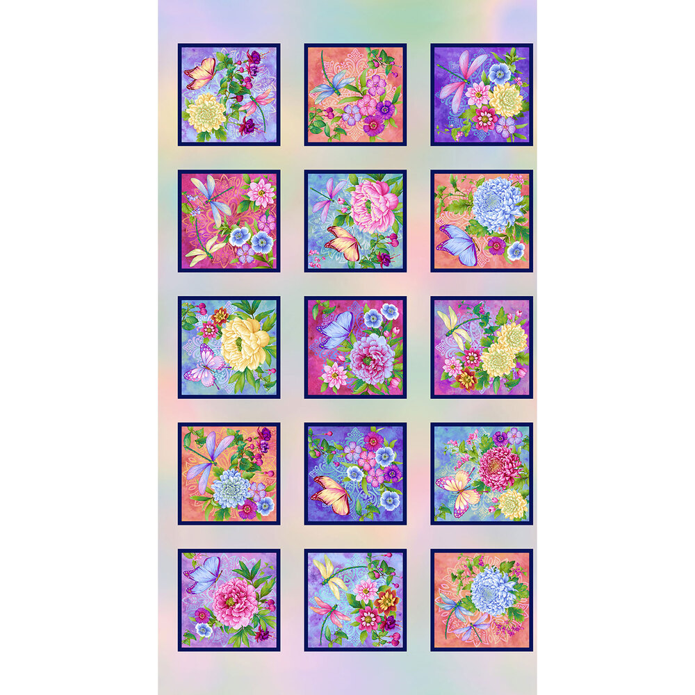 Beautiful garden blocks with flowers and butterflies   Shabby Fabrics