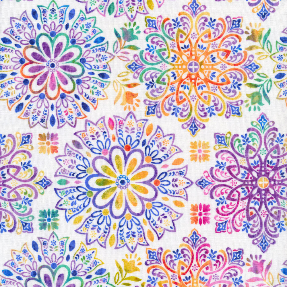 Multi colored medallions on a light pastel background   Shabby Fabrics