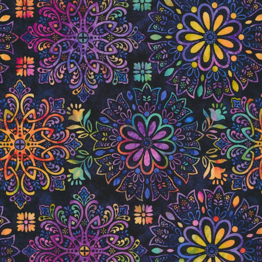 Multi colored medallions on a royal purple background | Shabby Fabrics