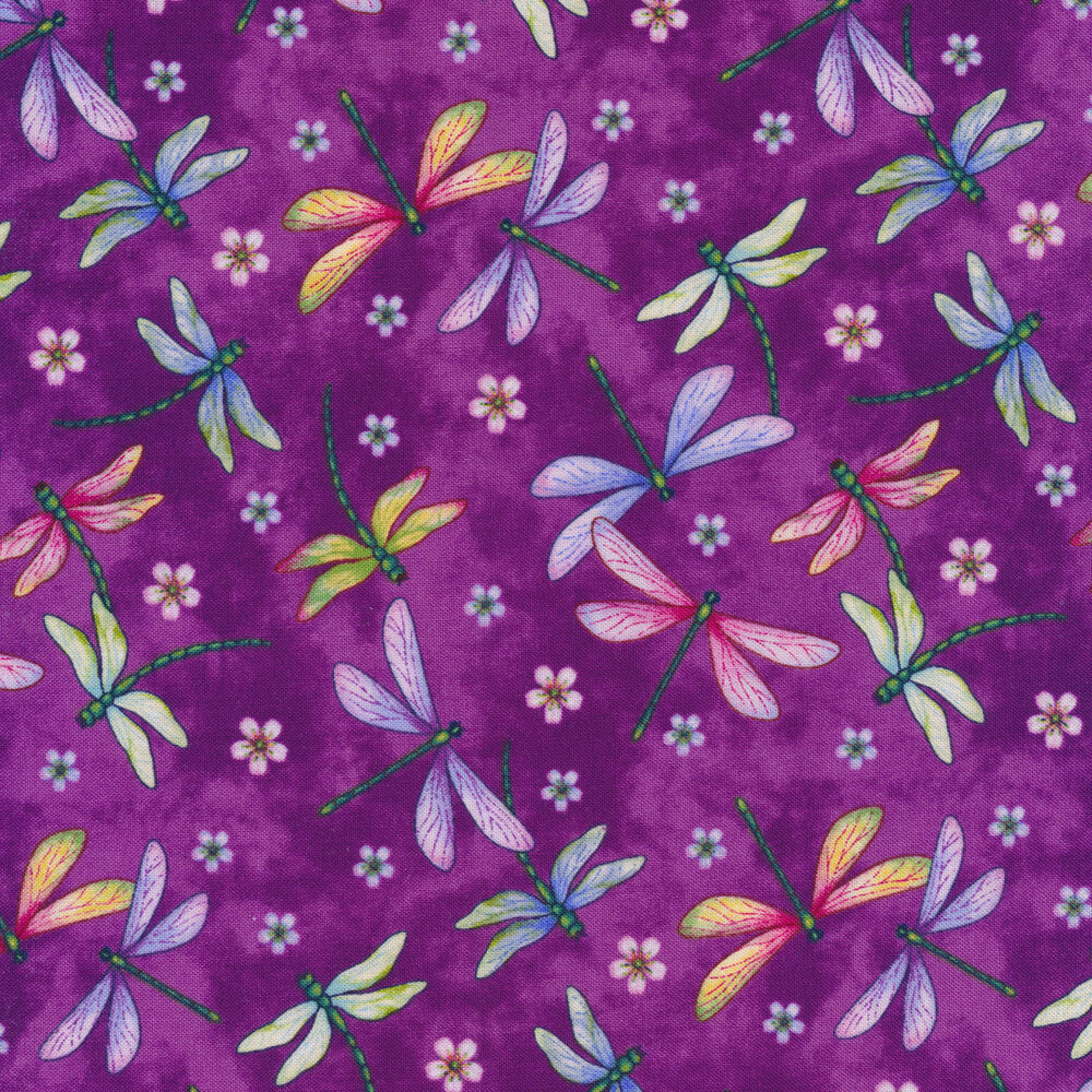 Tossed dragonflies on a mottled purple background | Shabby Fabrics