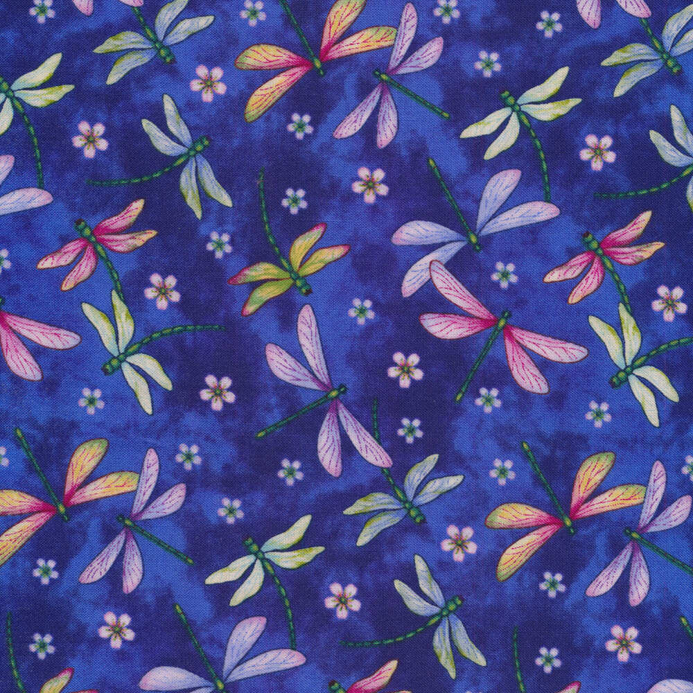 Tossed dragonflies on a mottled royal blue background   Shabby Fabrics