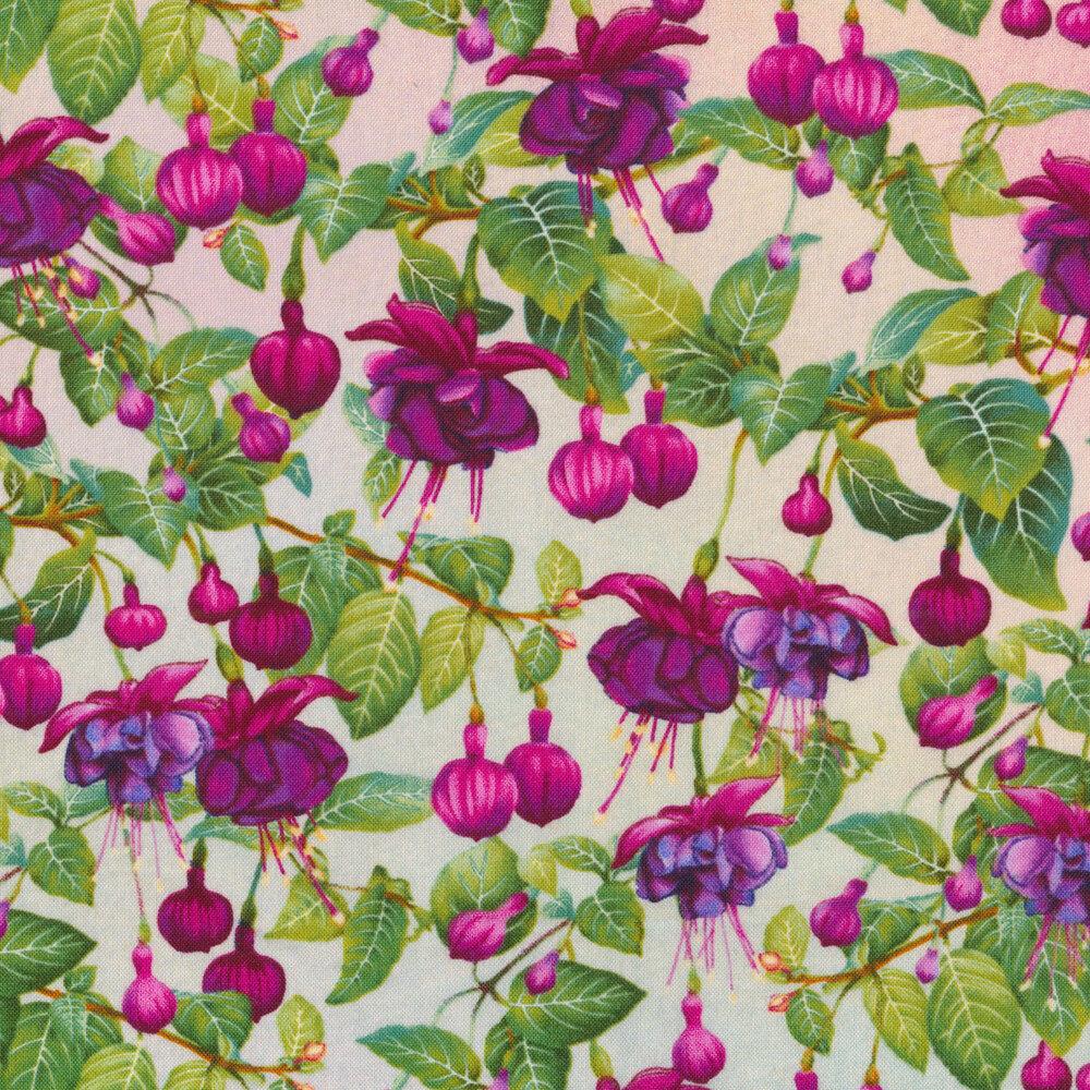 Fuchsia bulbs all over a pastel background | Shabby Fabrics