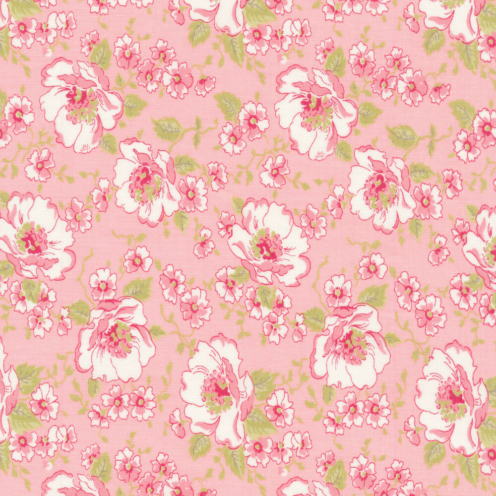Pink and white flowers on a pink background