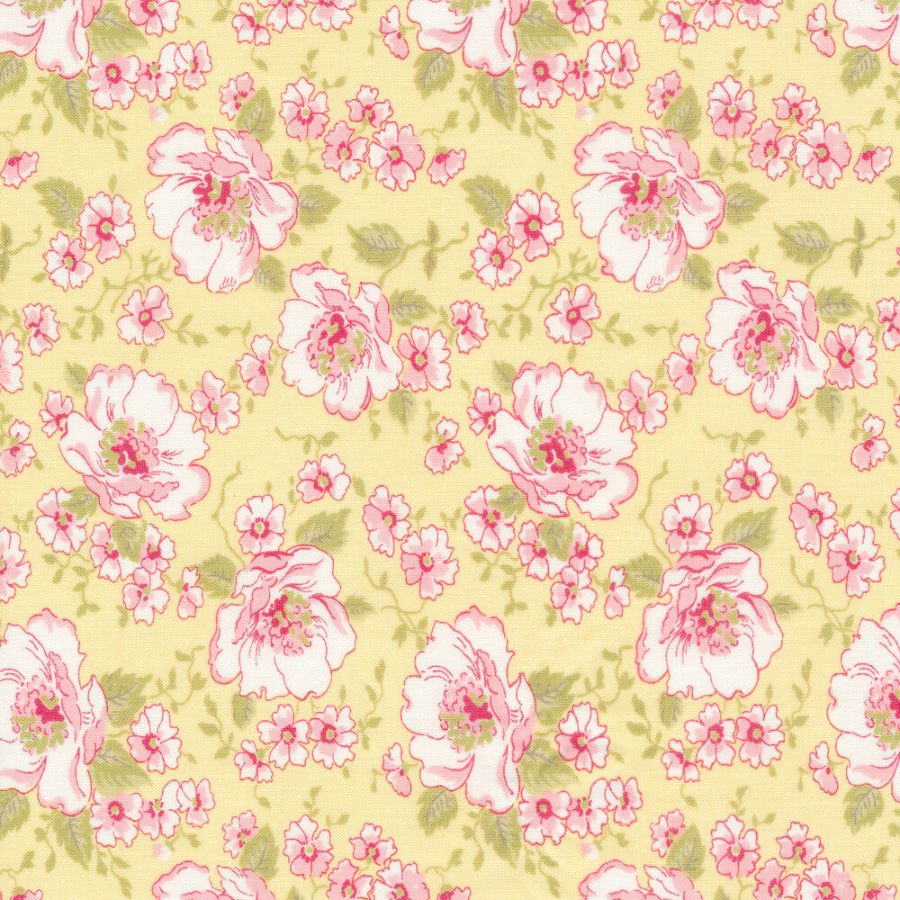 Pink and white flowers on a yellow background